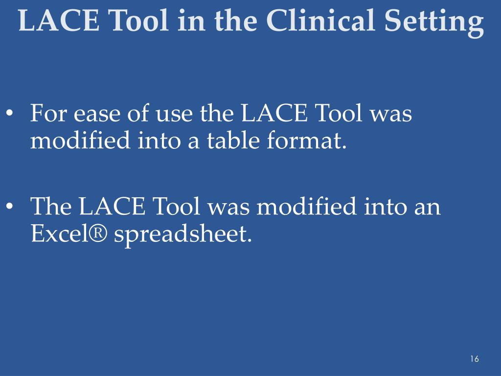 LACE Tool in the Clinical Setting