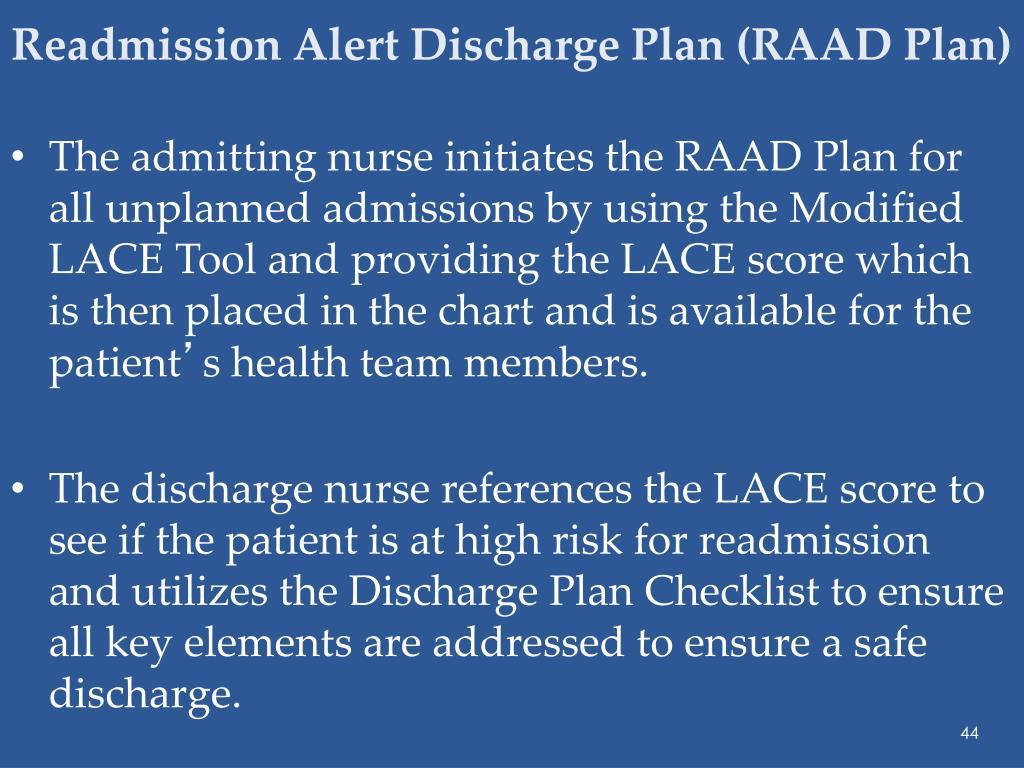 Readmission Alert Discharge Plan (RAAD Plan)