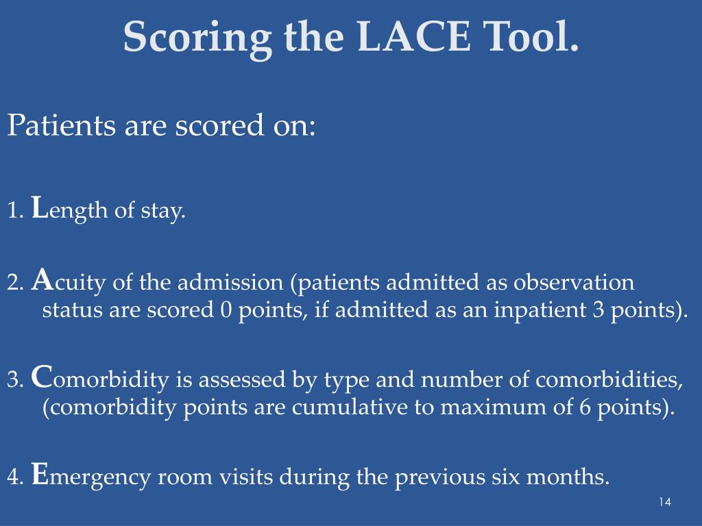 Scoring the LACE Tool.
