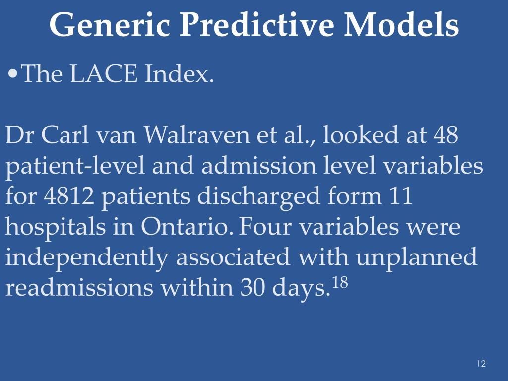 Generic Predictive Models