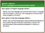 specific subjects 372 6 language arts communication skills