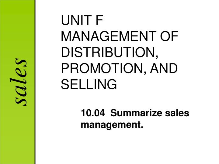 unit f management of distribution promotion and selling n.