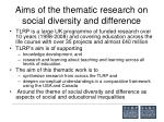 aims of the thematic research on social diversity and difference