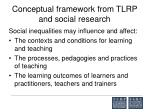 conceptual framework from tlrp and social research
