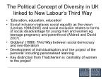 the political concept of diversity in uk linked to new labour s third way
