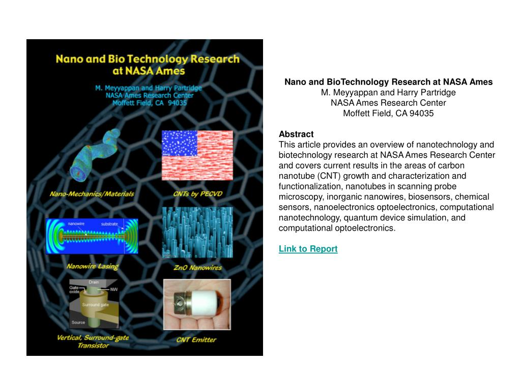 Nano and BioTechnology Research at NASA Ames
