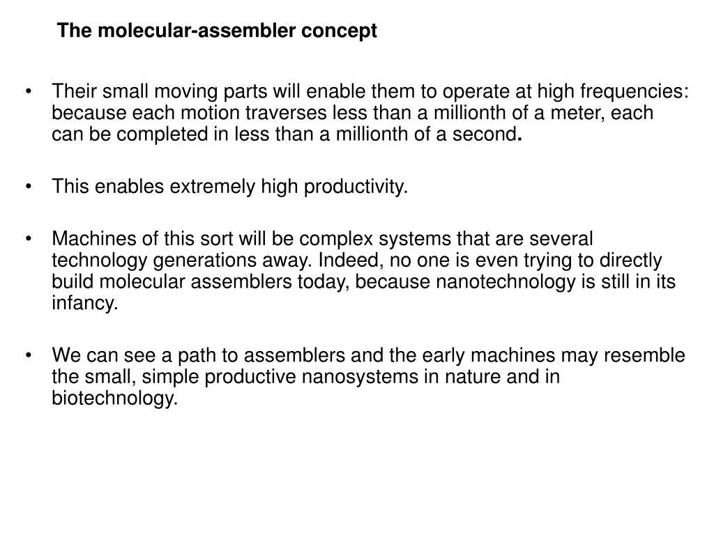 The molecular-assembler concept