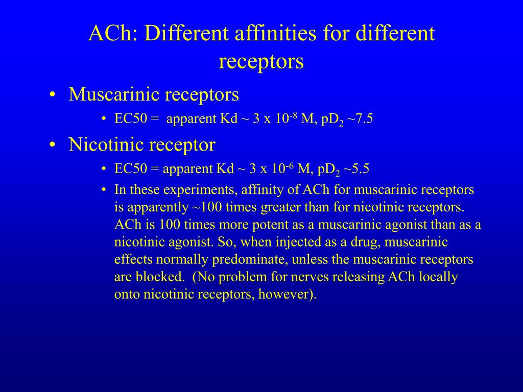 ACh: Different affinities for different receptors