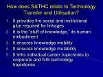 how does s thc relate to technology transfer and utilisation