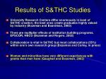 results of s thc studies
