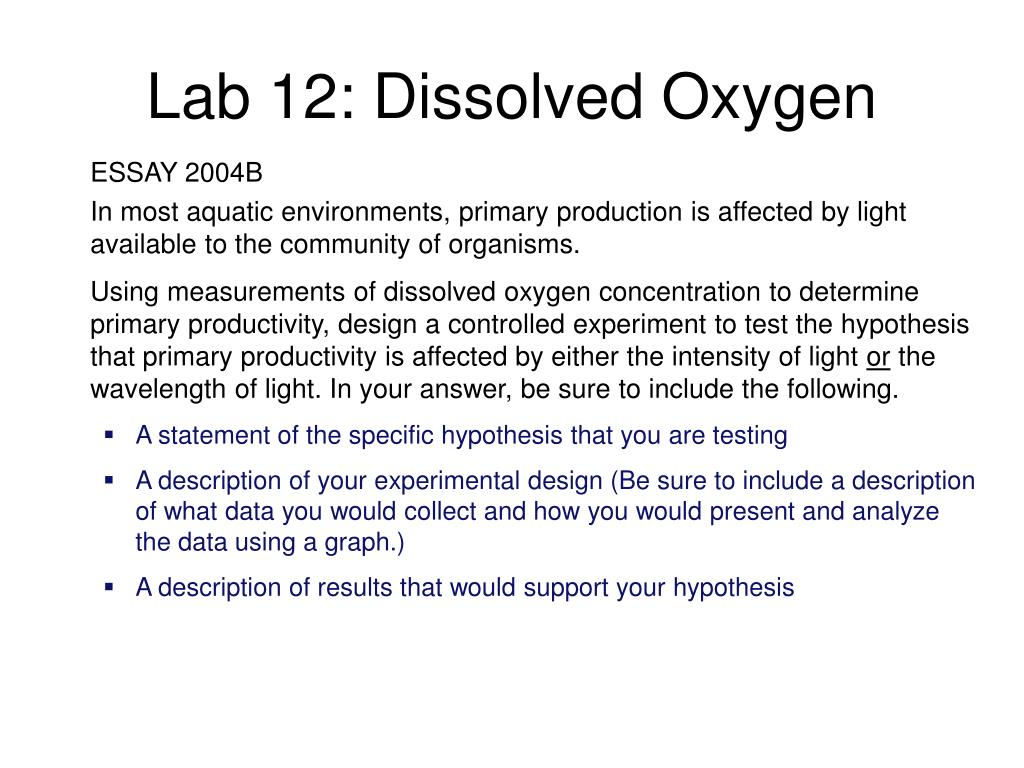 experiment 11 determination of dissolved oxygen Fundamentals of environmental sampling and analysis determination of dissolved oxygen experiment 11 determination of explosives compounds in a.