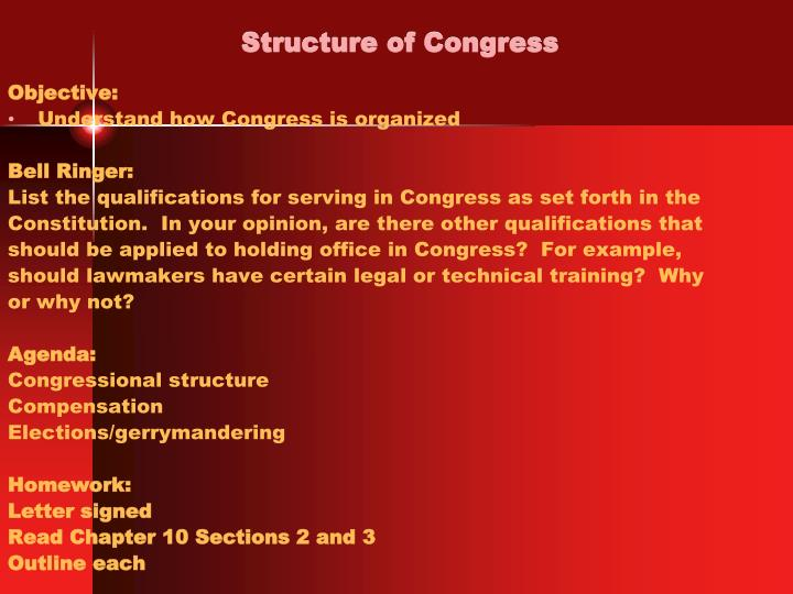 structure of congress n.