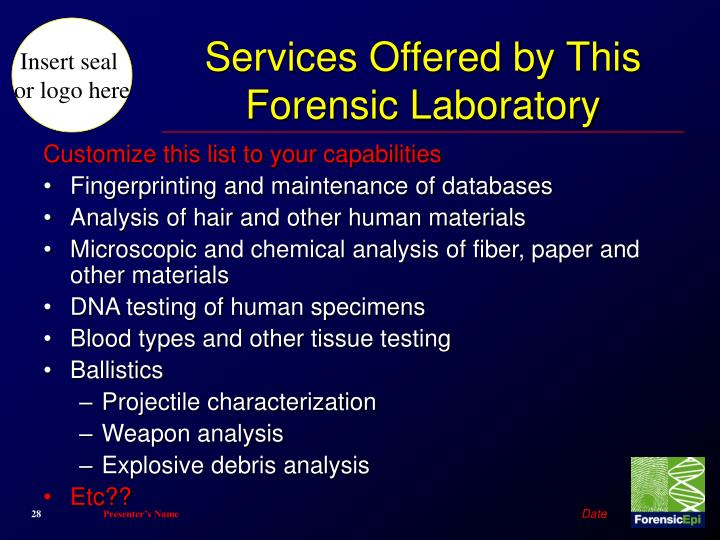 Services Offered by This Forensic Laboratory