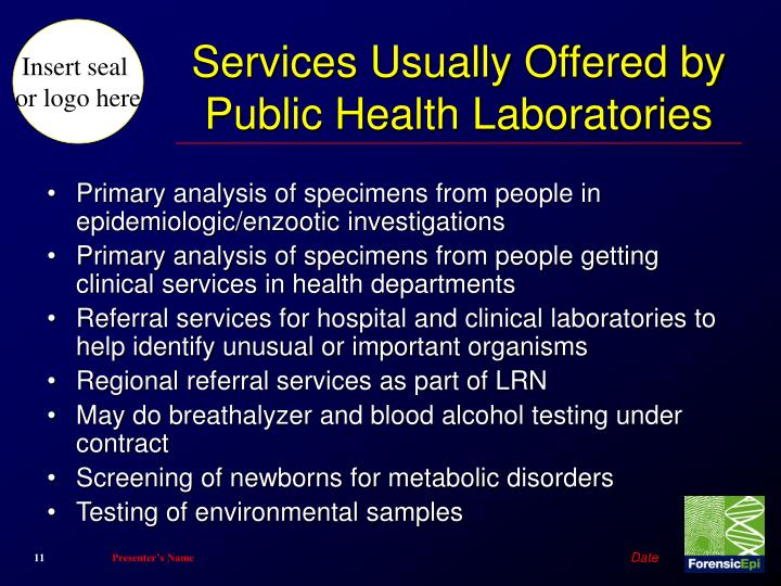 Services Usually Offered by Public Health Laboratories