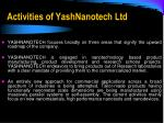 activities of yashnanotech ltd