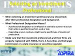 selecting an investment professional