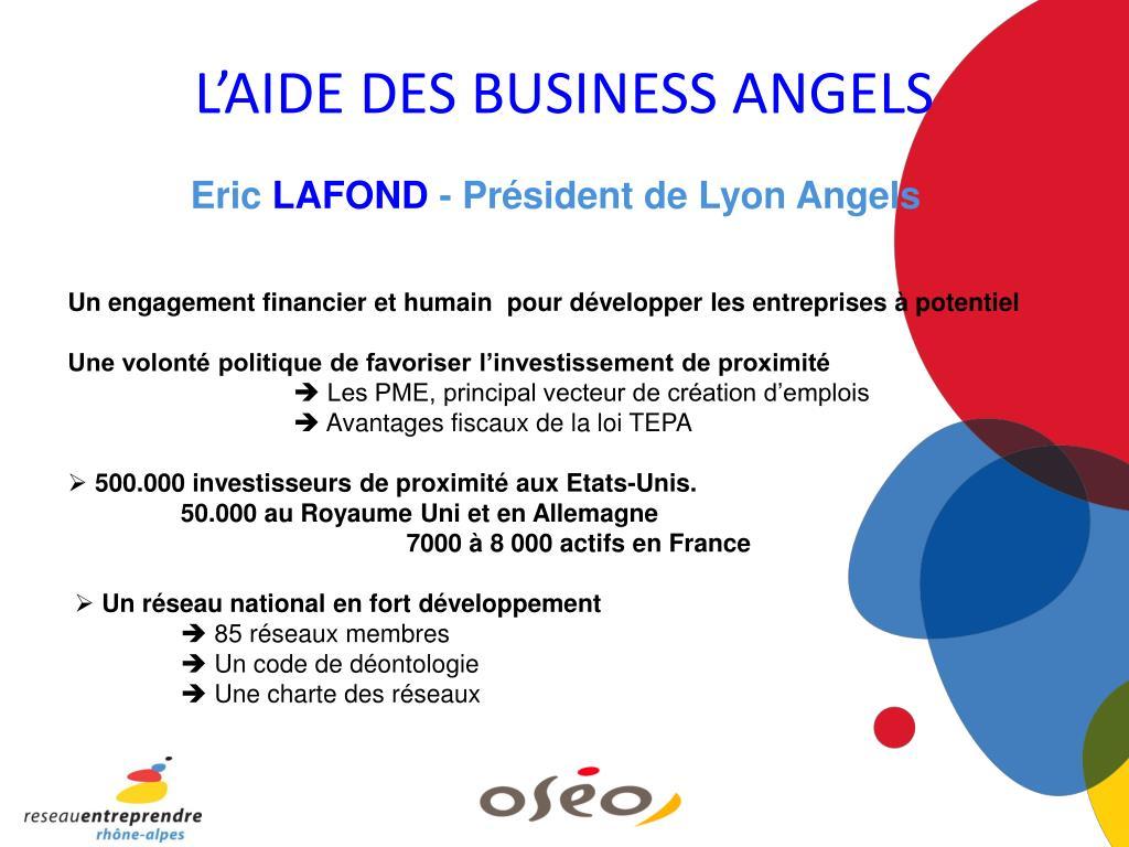 L'AIDE DES BUSINESS ANGELS