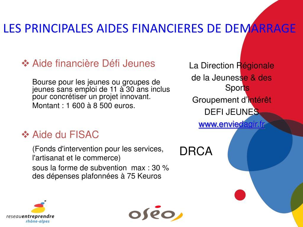 LES PRINCIPALES AIDES FINANCIERES DE DEMARRAGE