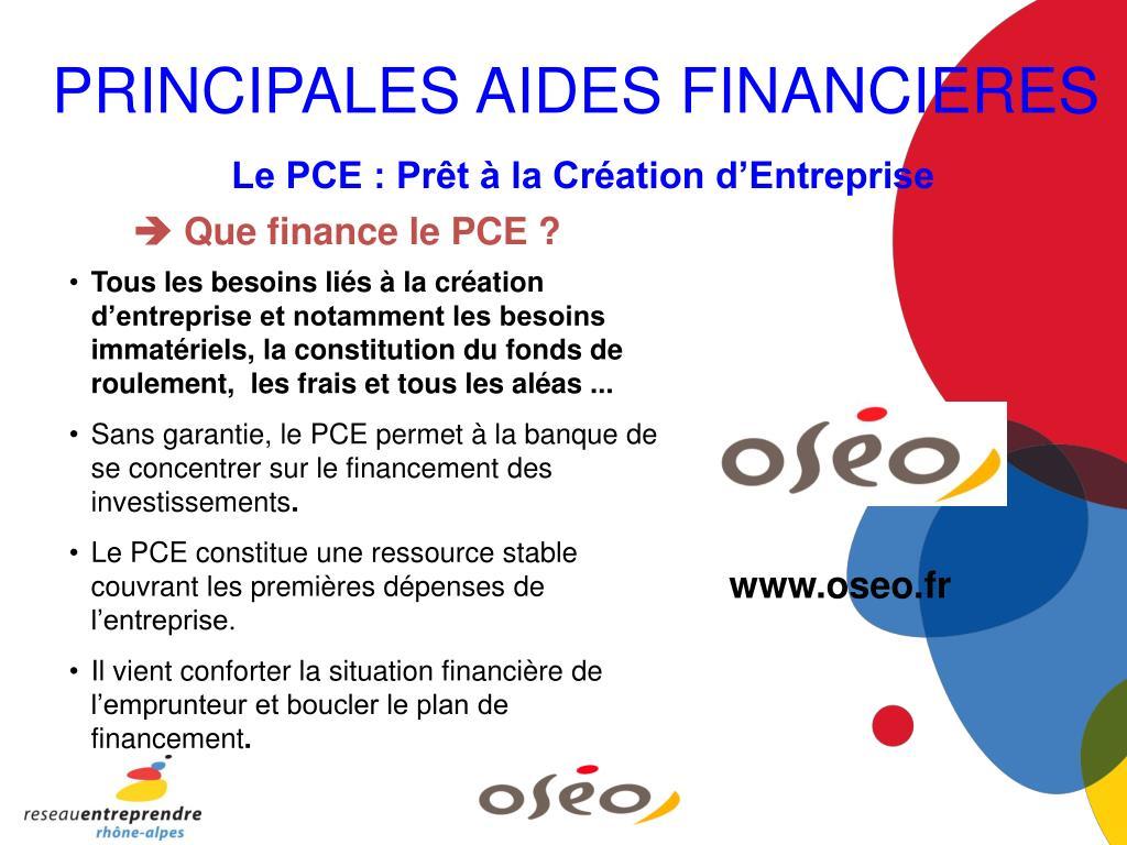 PRINCIPALES AIDES FINANCIERES