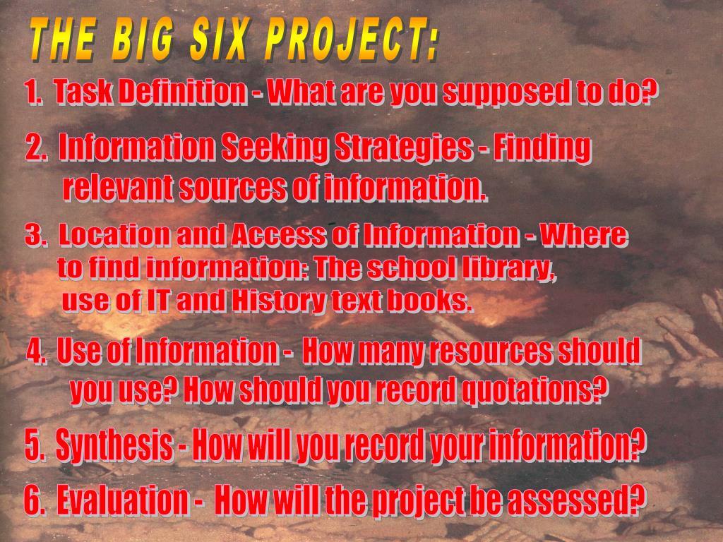 THE BIG SIX PROJECT: