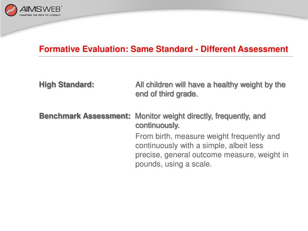 Formative Evaluation: Same Standard - Different Assessment