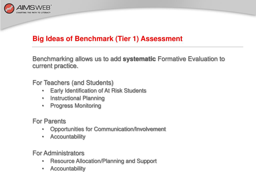 Big Ideas of Benchmark (Tier 1) Assessment