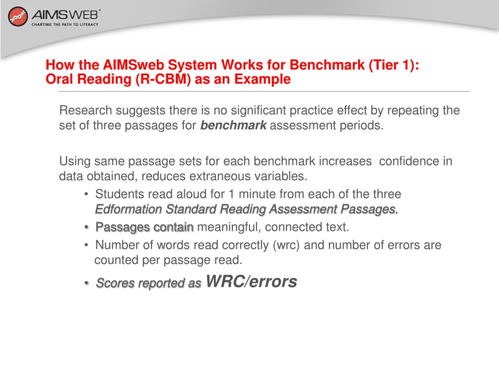 How the AIMSweb System Works for Benchmark (Tier 1):