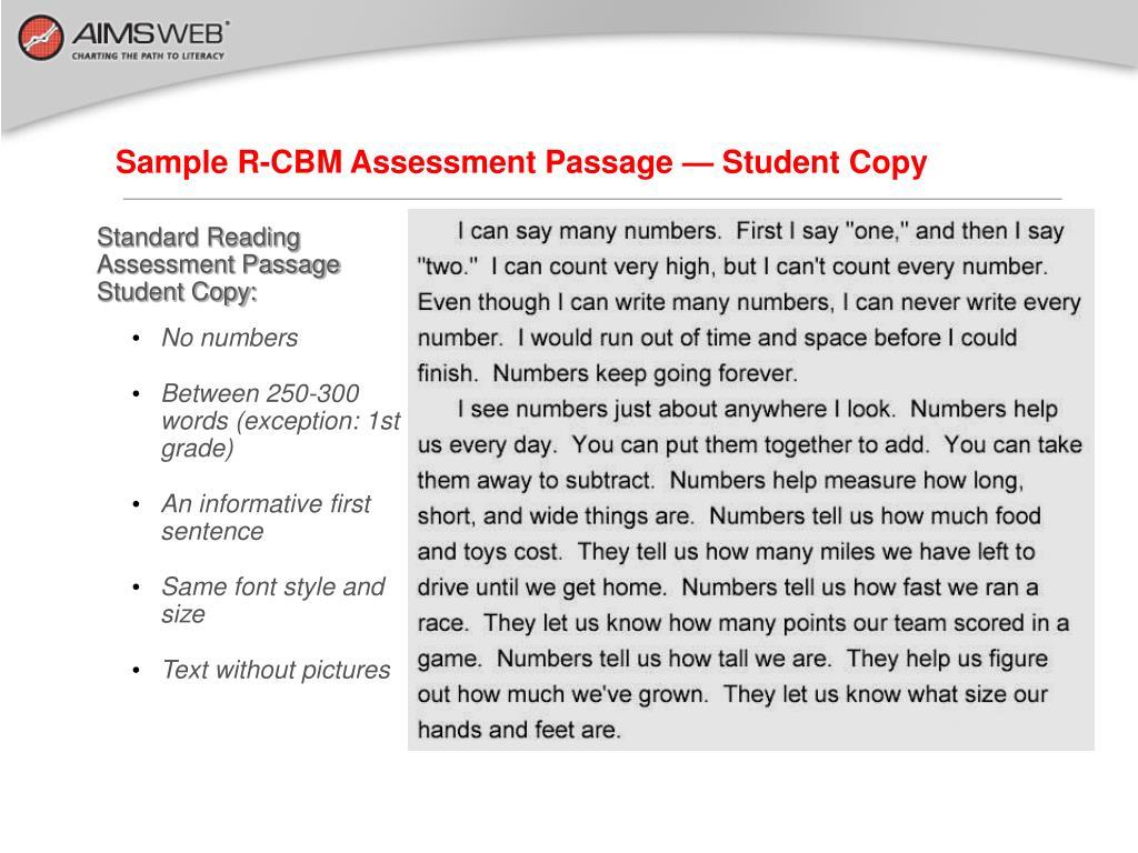 Sample R-CBM Assessment Passage — Student Copy