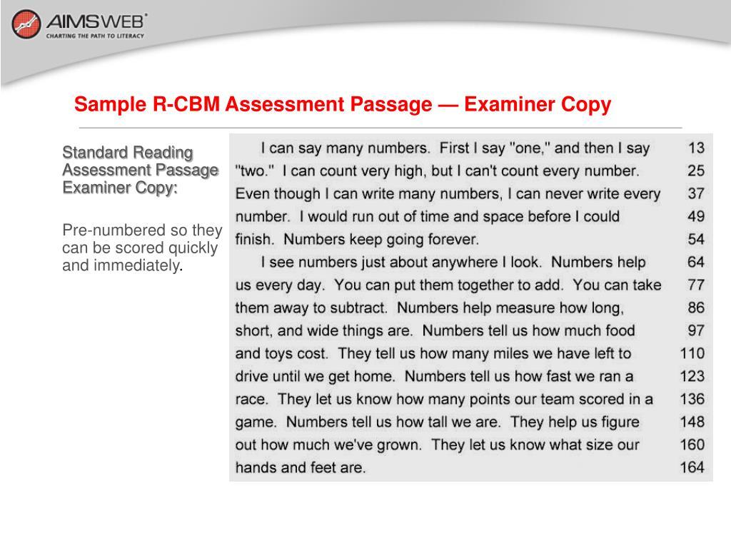 Sample R-CBM Assessment Passage — Examiner Copy