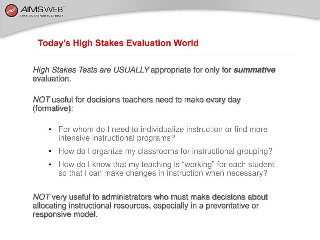 Today's High Stakes Evaluation World