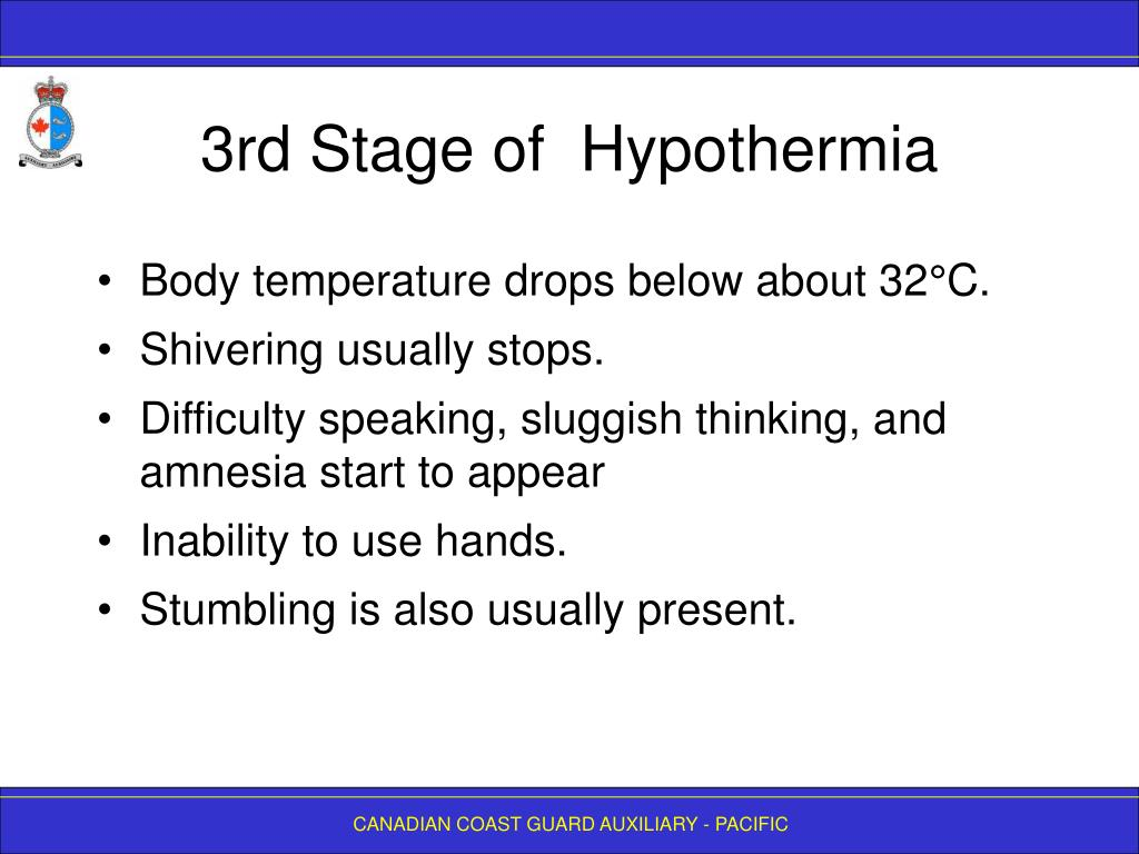 3rd Stage of  Hypothermia