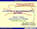 an overview of nanotechnology with a qca slant
