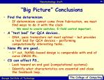 big picture conclusions