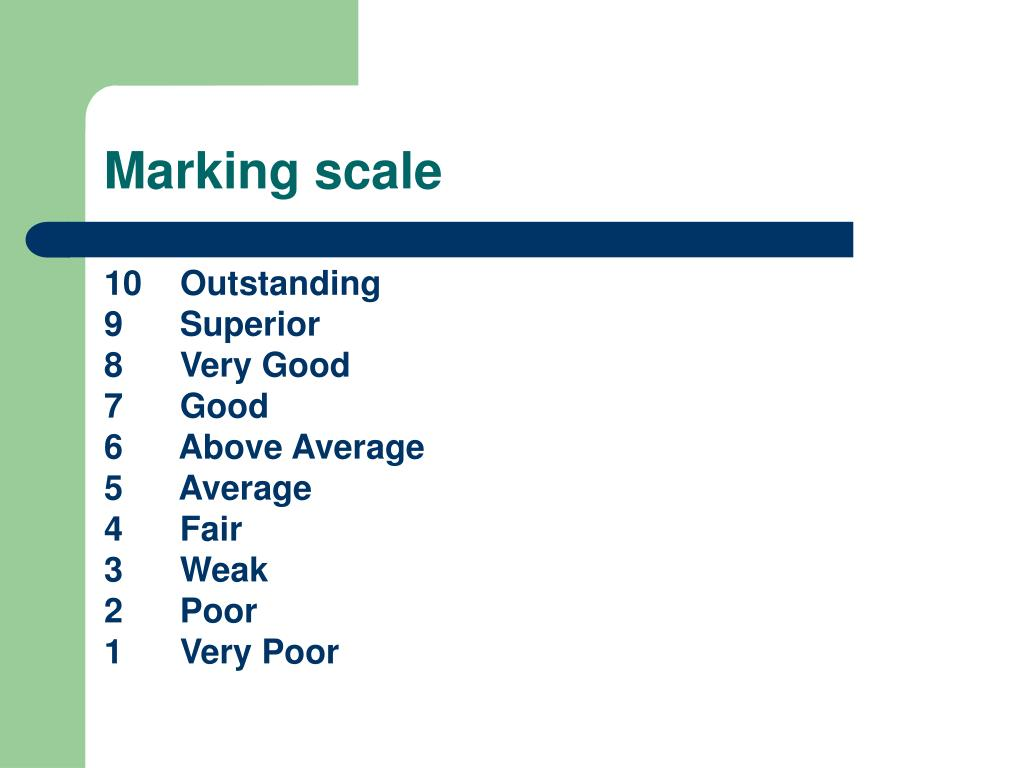 Marking scale