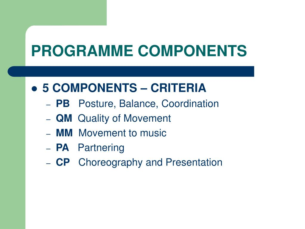 PROGRAMME COMPONENTS