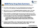 msm party drug data summary