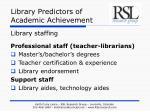 library predictors of academic achievement