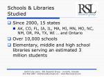 schools libraries studied