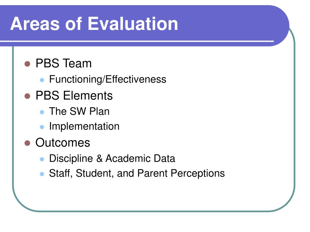 Areas of Evaluation