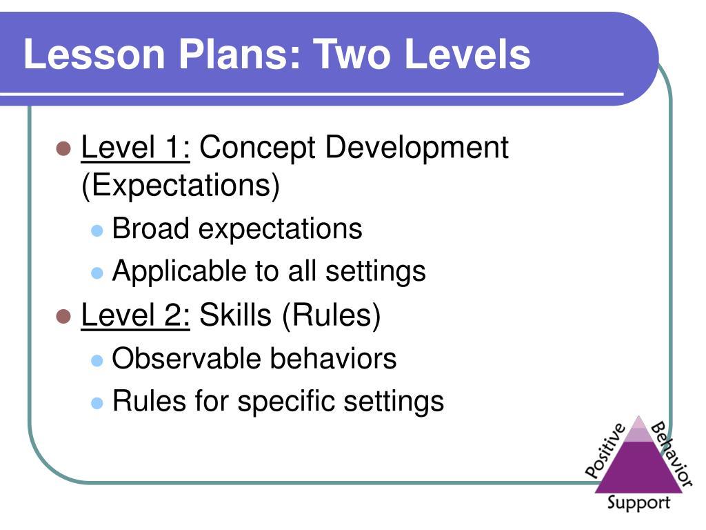 Lesson Plans: Two Levels