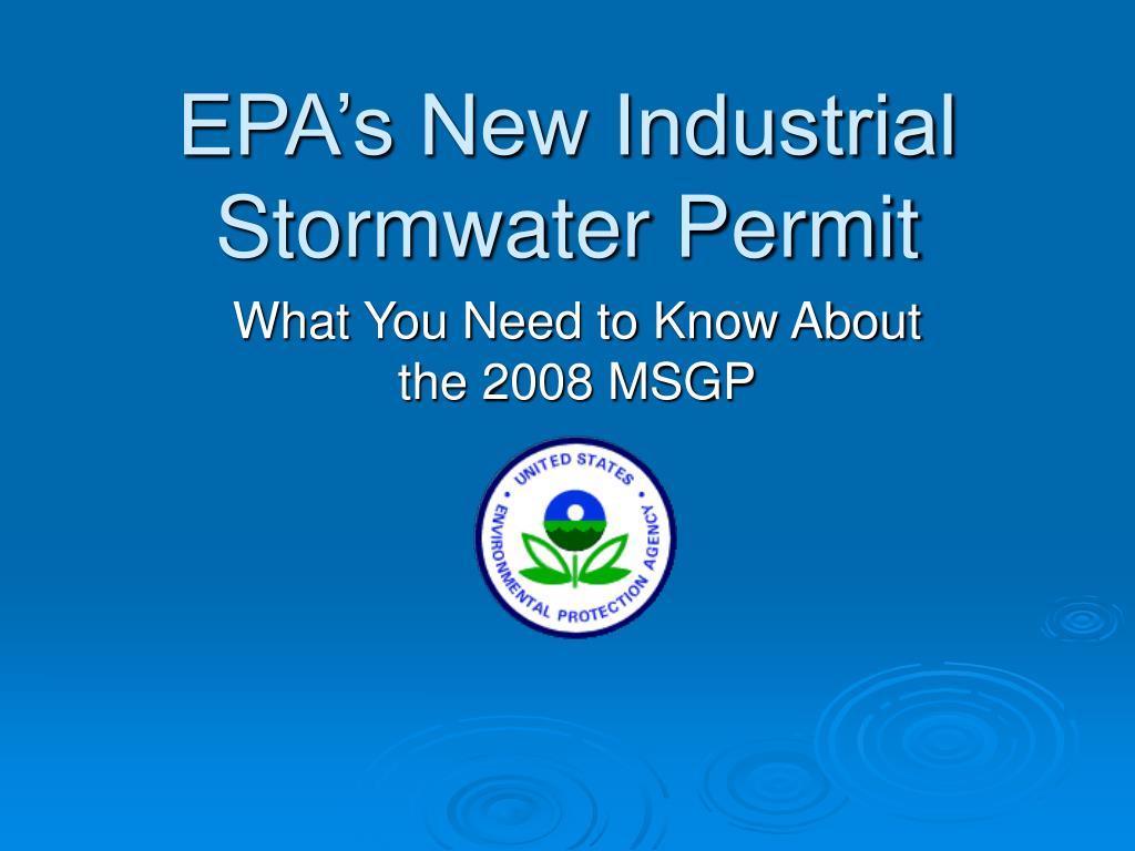 epa s new industrial stormwater permit l.