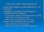 how to claim no exposure