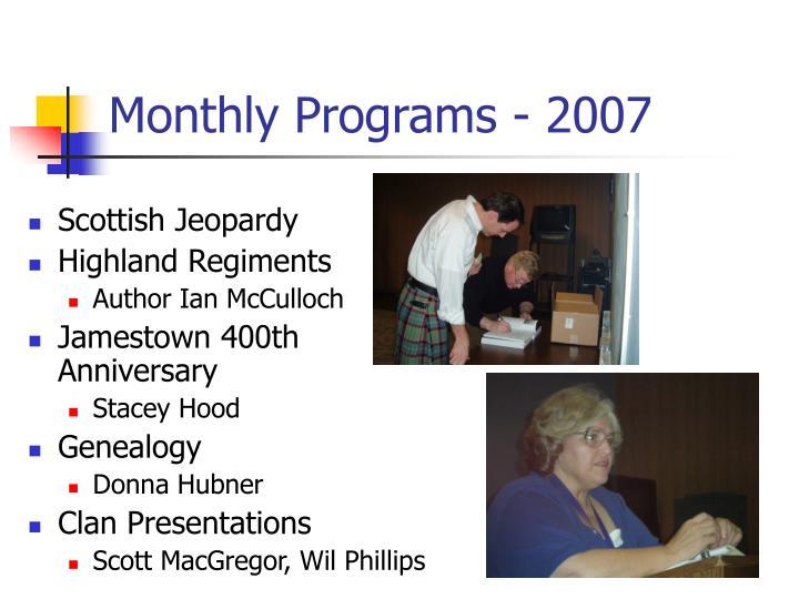 Monthly programs 2007