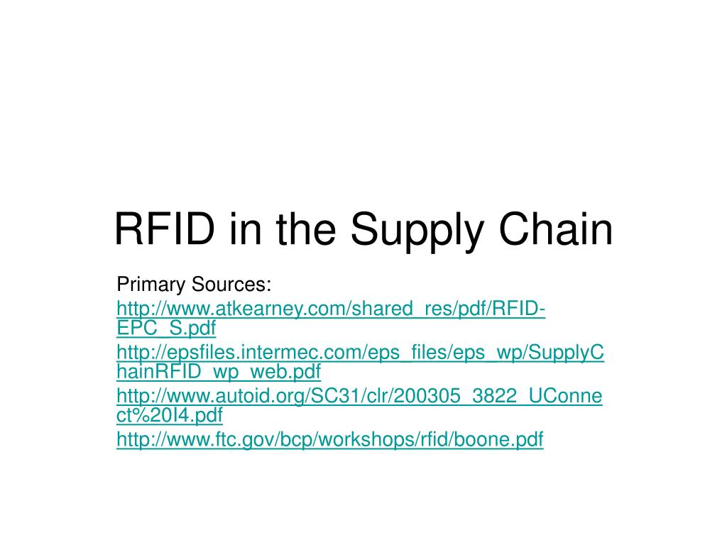 rfid in the supply chain l.