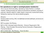 hot operations on rigid or semirigid plastic handworks