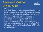 answers to winter driving quiz14