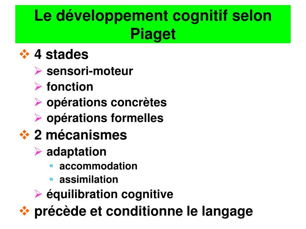 Le développement cognitif selon Piaget