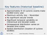 key features historical baseline