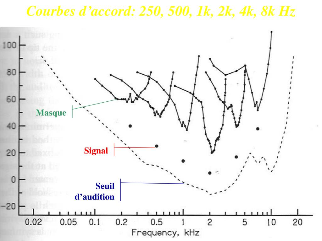 Courbes d'accord: 250, 500, 1k, 2k, 4k, 8k Hz