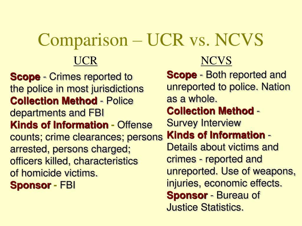 Comparison – UCR vs. NCVS